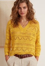 Oui Pullover Ajour Geel