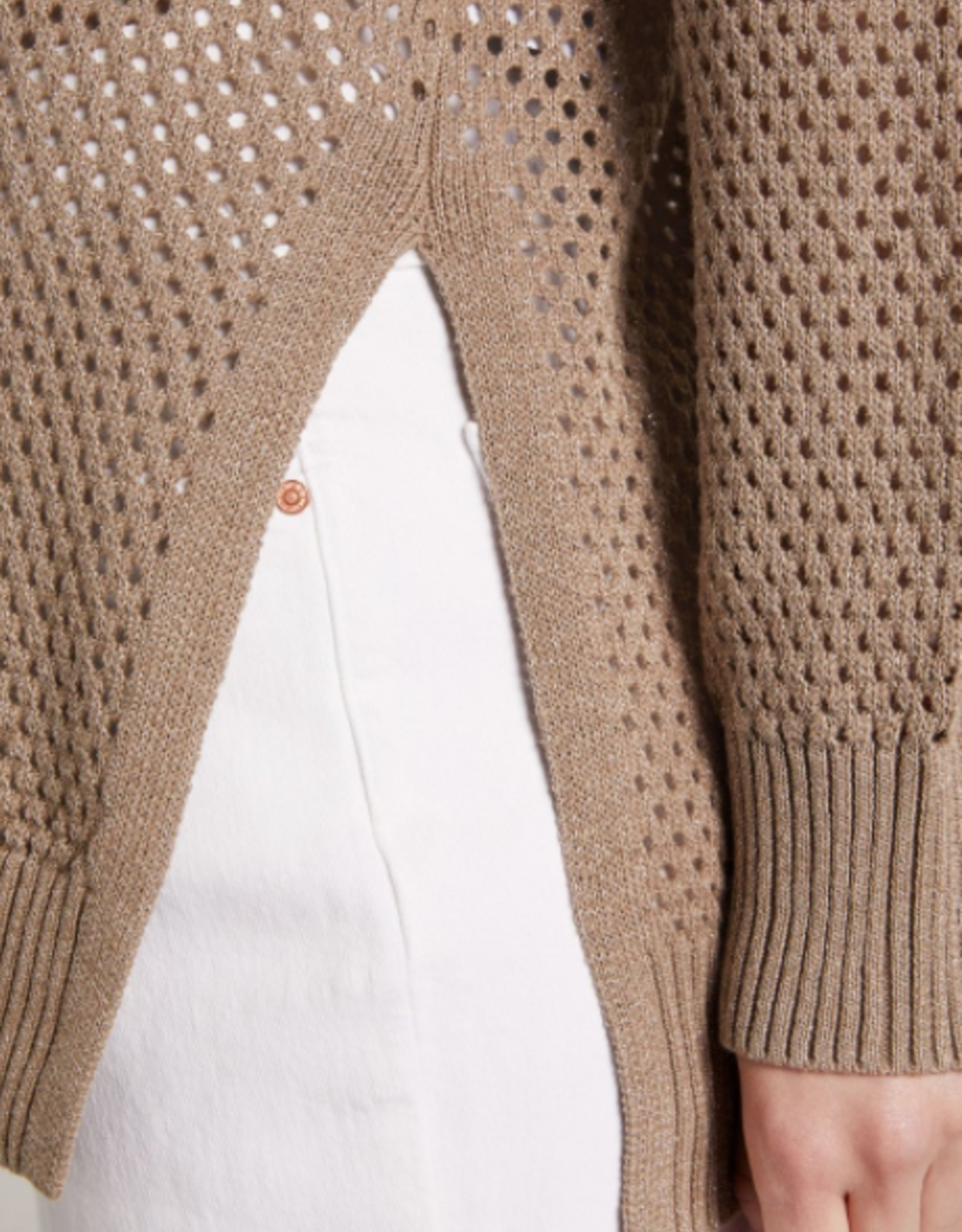 Oui Pullover Ajour Taupe Lurex