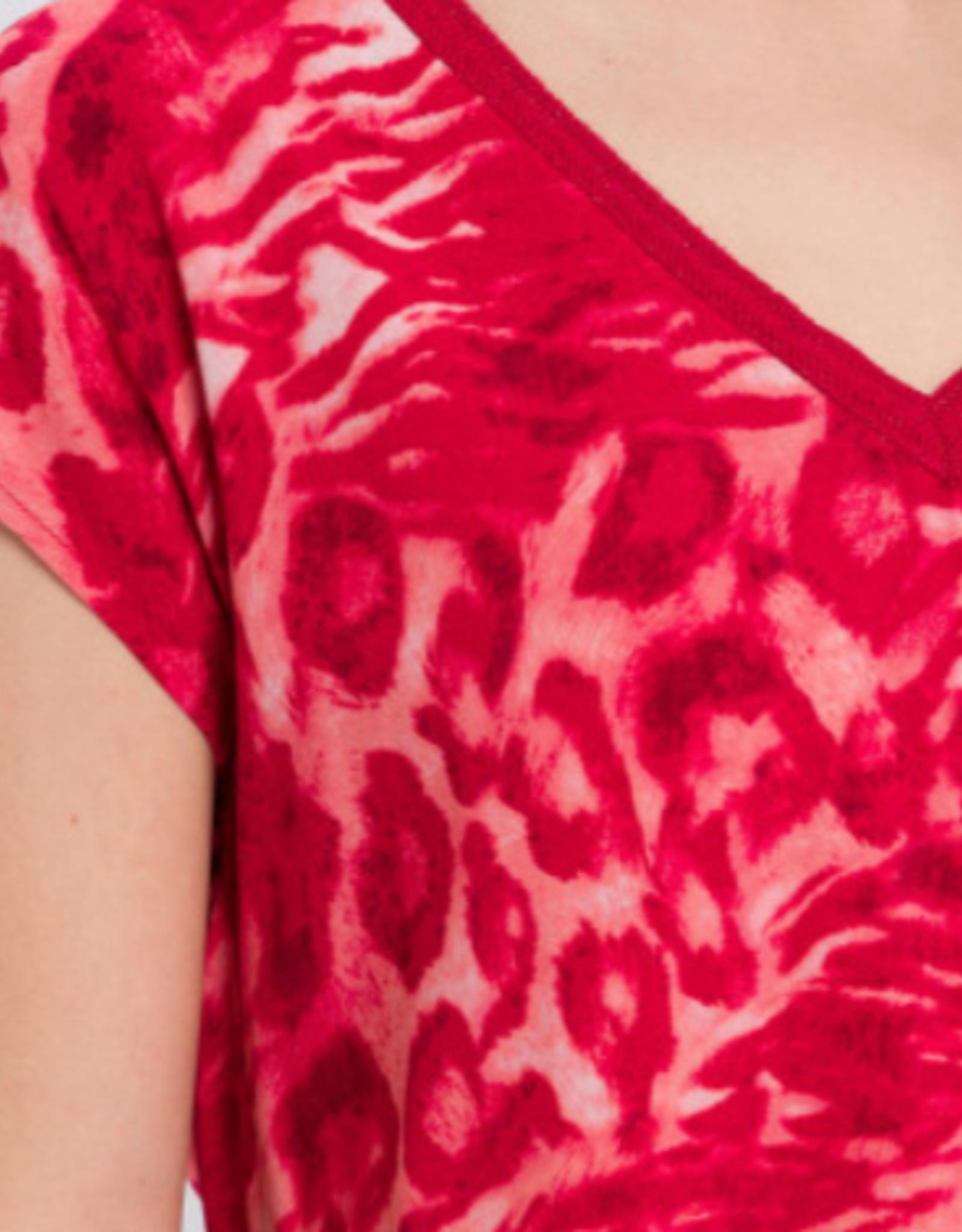 Marc Aurel T-Shirt V-Hals Rode Print