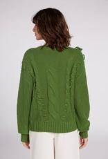 Oui Pullover Kabel Kwastjes Cactus Groen