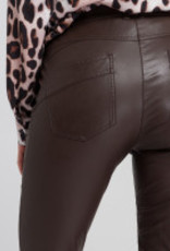 Marc Aurel Pantalon Fake Leather Rits Deep Brown
