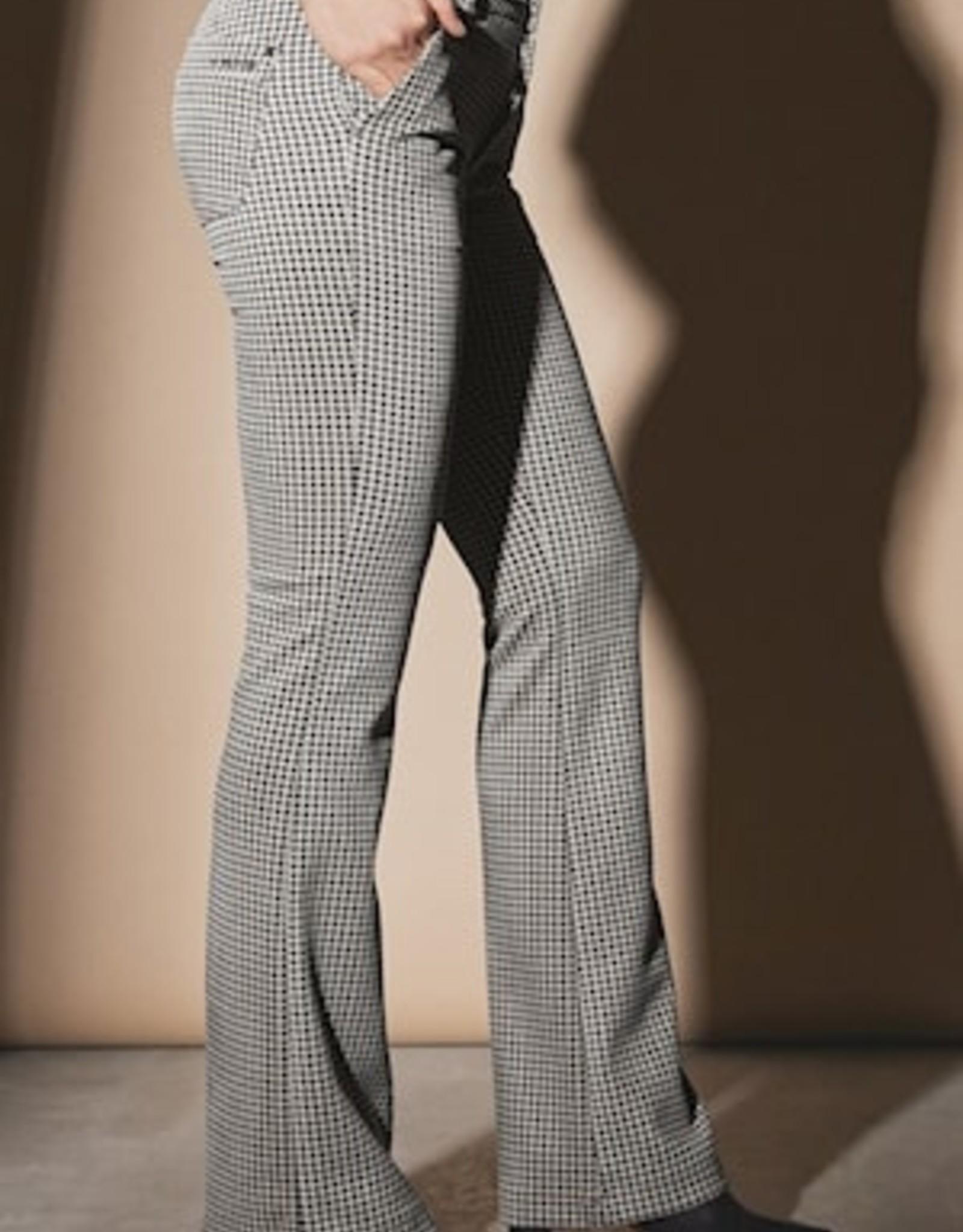 Para MI Pantalon Jade City  Brushed Quality Off White Zwart Pied De Poule