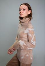 Maria Bellentani Pullover Col met Ruit patroon Camel