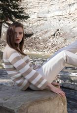 Maria Bellentani Pullover Off-White Caramel Streep