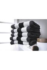 Twentse Damast Streep Handdoekenset Zwart/Antraciet