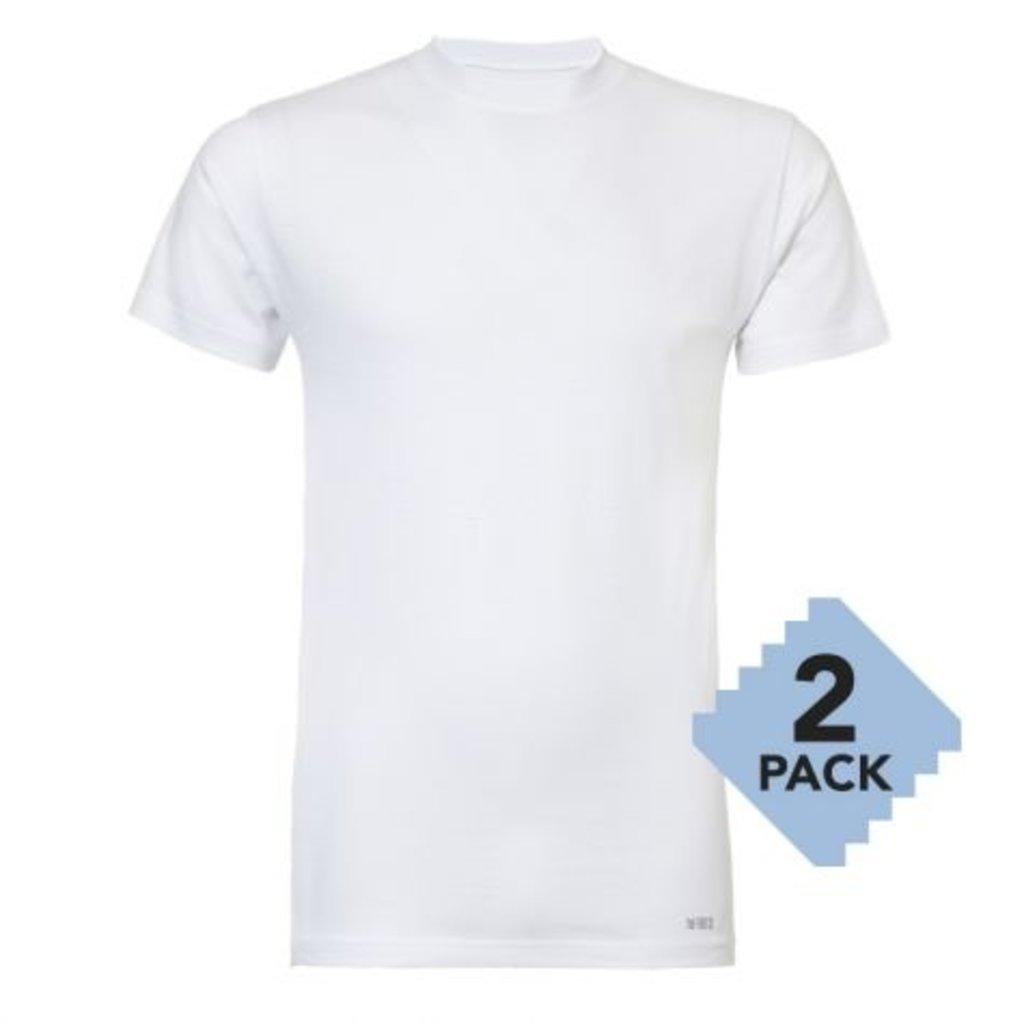 Twentse Damast 2 pack 100% Katoenen T-Shirt O-Hals - Wit