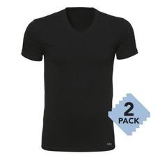 Twentse Damast 2-pack 100% Katoenen T-Shirt V-Hals - Zwart