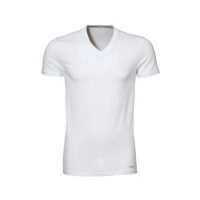 Twentse Damast 2-pack 100% Katoenen T-Shirt V-Hals Wit