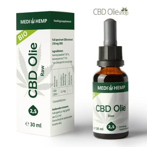 Medihemp CBD Olie Raw 2,5% CBD, 30 ml.