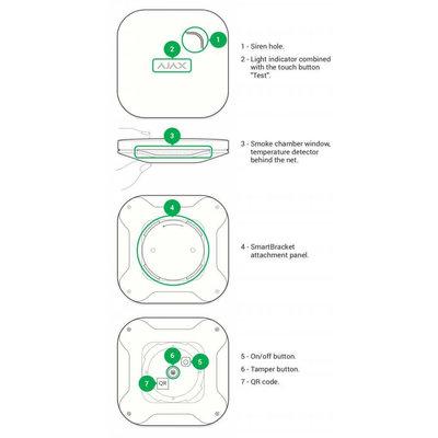 AJAX Draadloze rook en koolmonoxide melder - Wit (AJ-FIREPLUS/W)