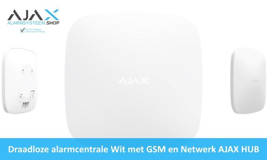 Draadloze alarmcentrale Wit met GSM en Netwerk AJAX HUB