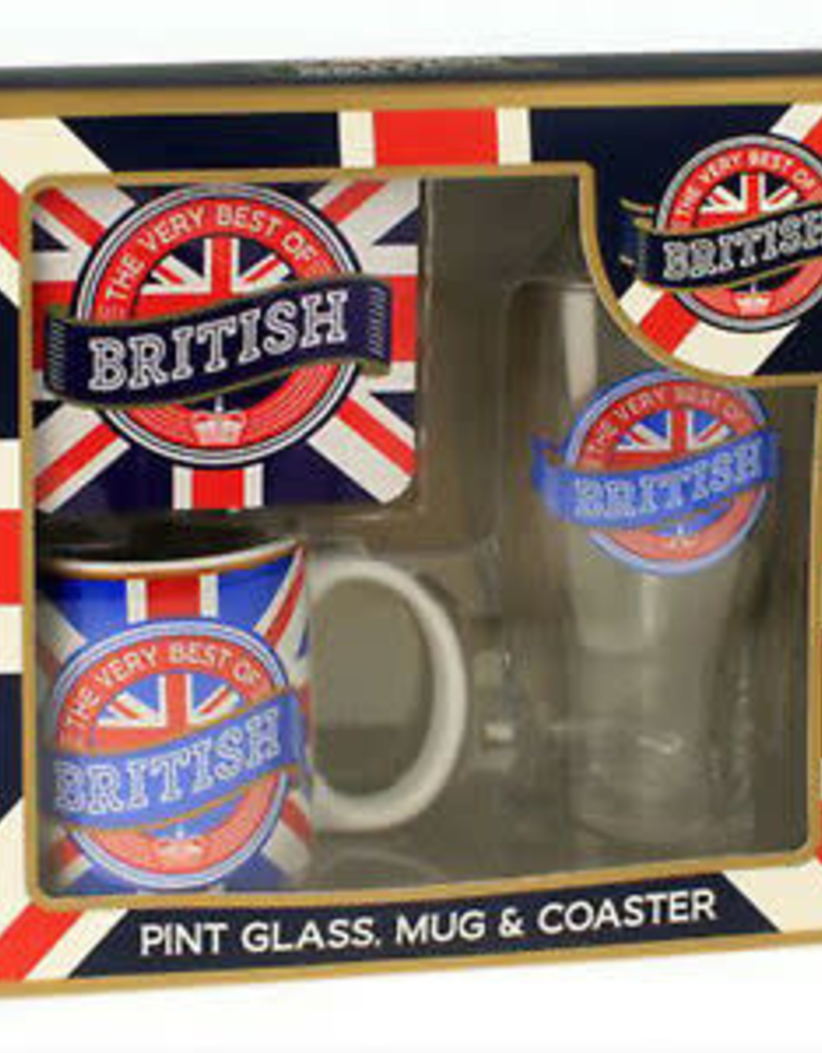Elgate British Pint Glass, Mug and Coaster Set