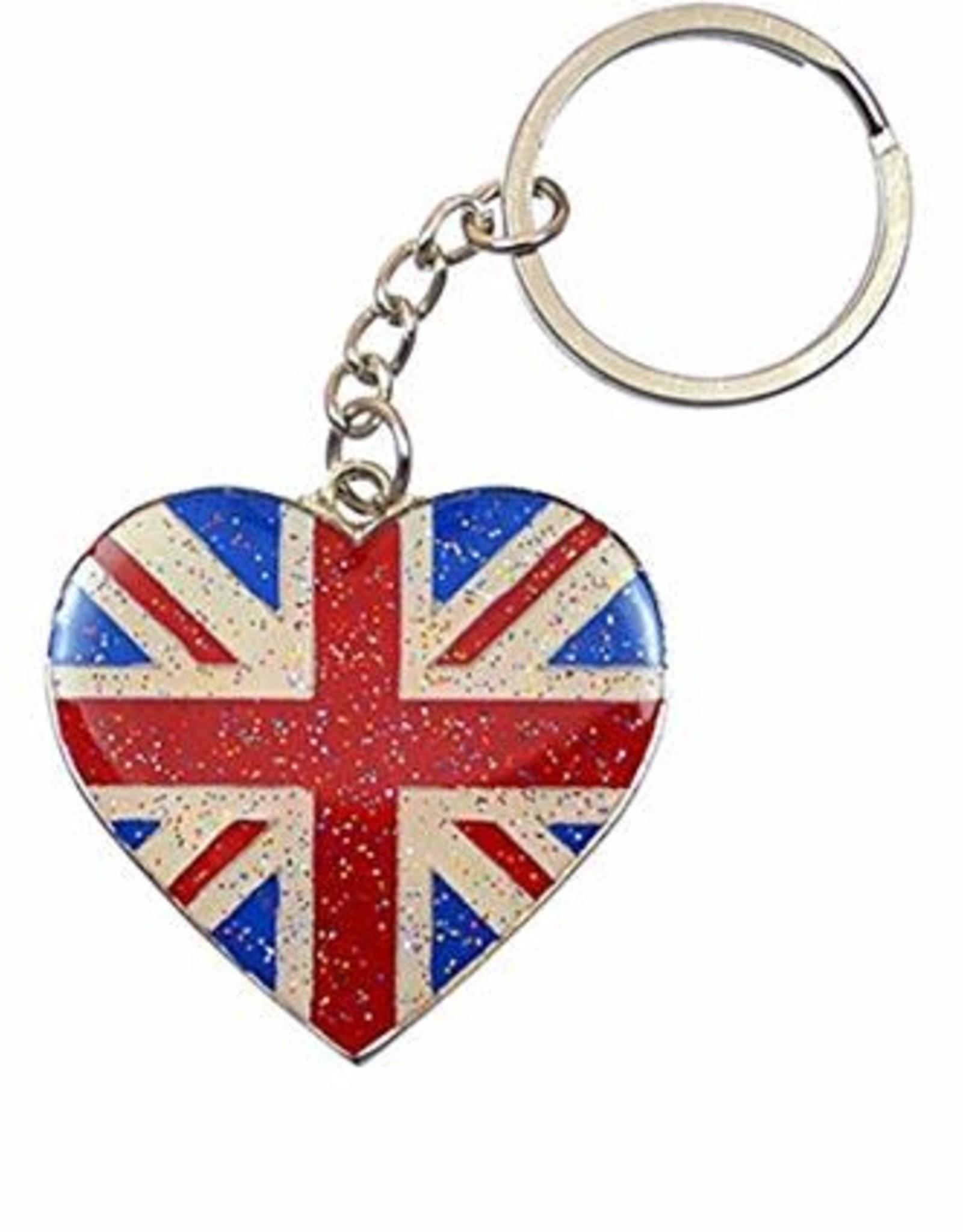 Elgate Union Jack Glitter Heart Keyring