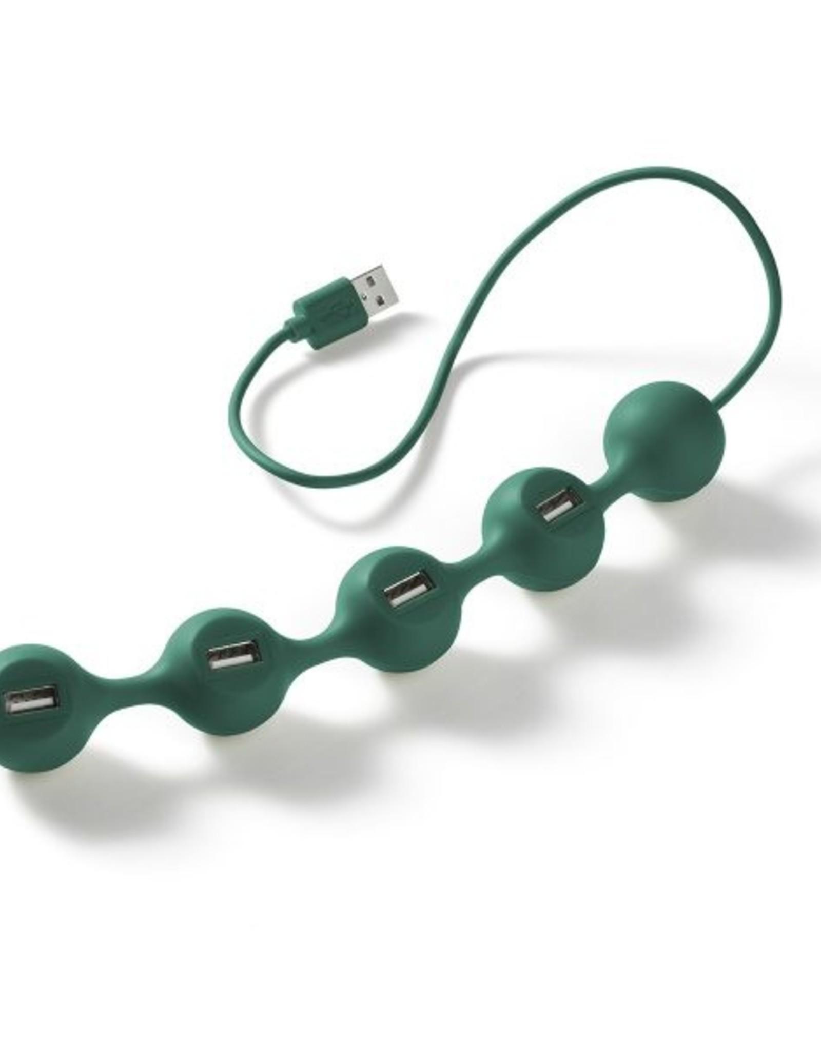 Lexon Peas USB Hub Donker Groen