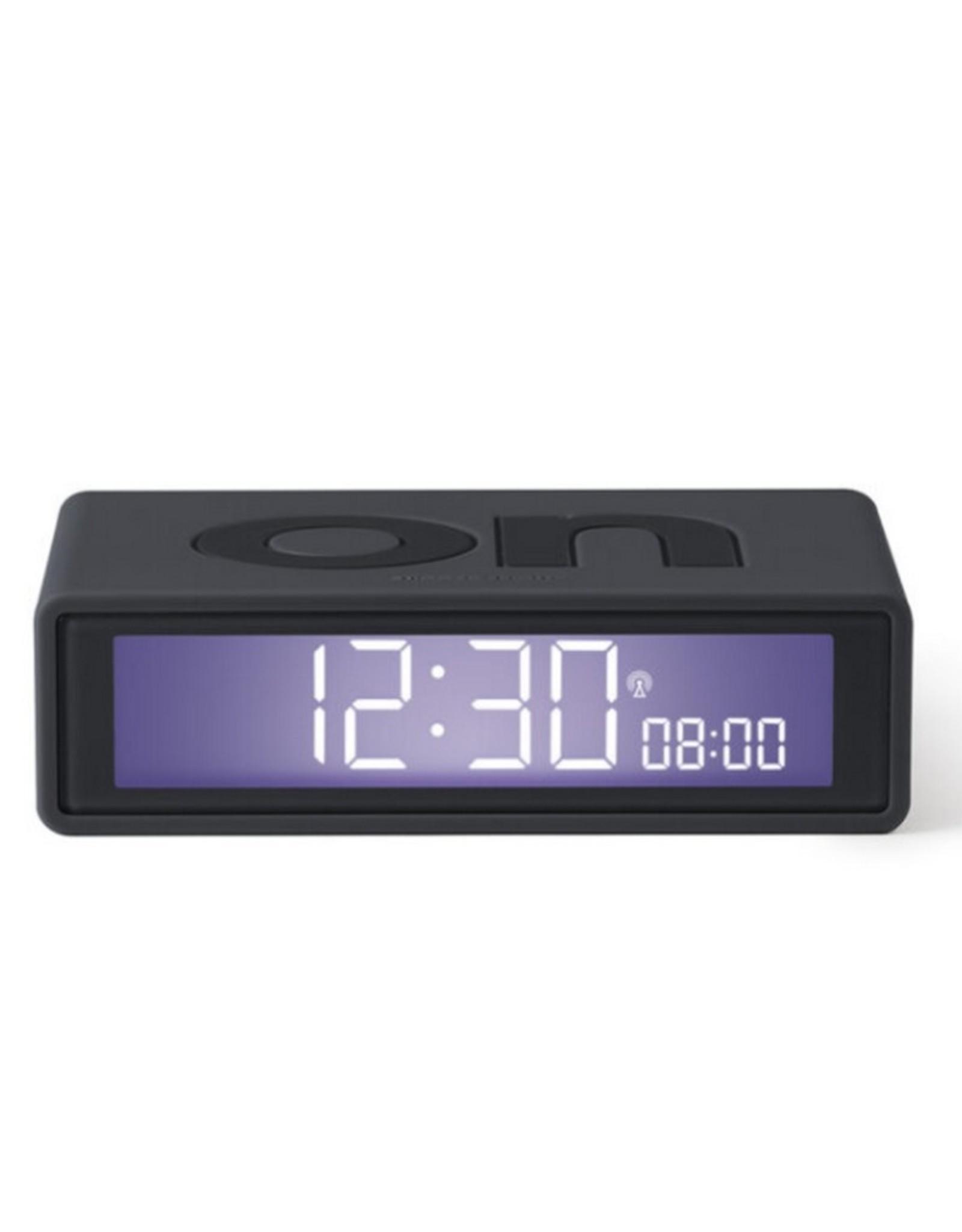 Lexon Alarm Clock Flip + Rubber Zwart