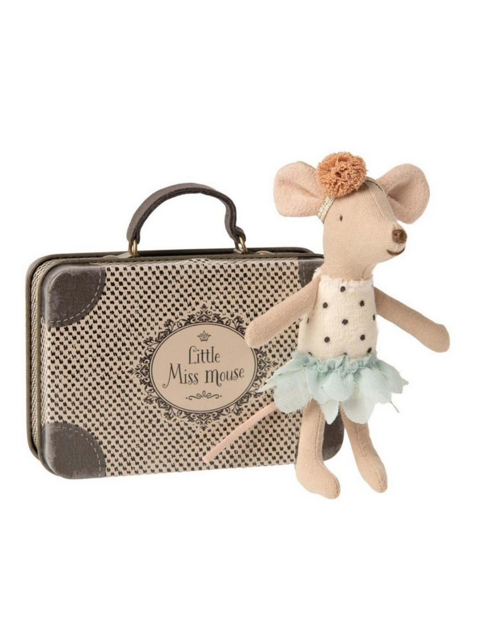 Maileg Knuffel Little Miss Mouse in suitcase