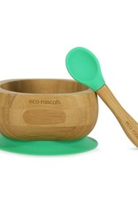 Eco Rascals Kommetje  + lepel met zuignap Groen