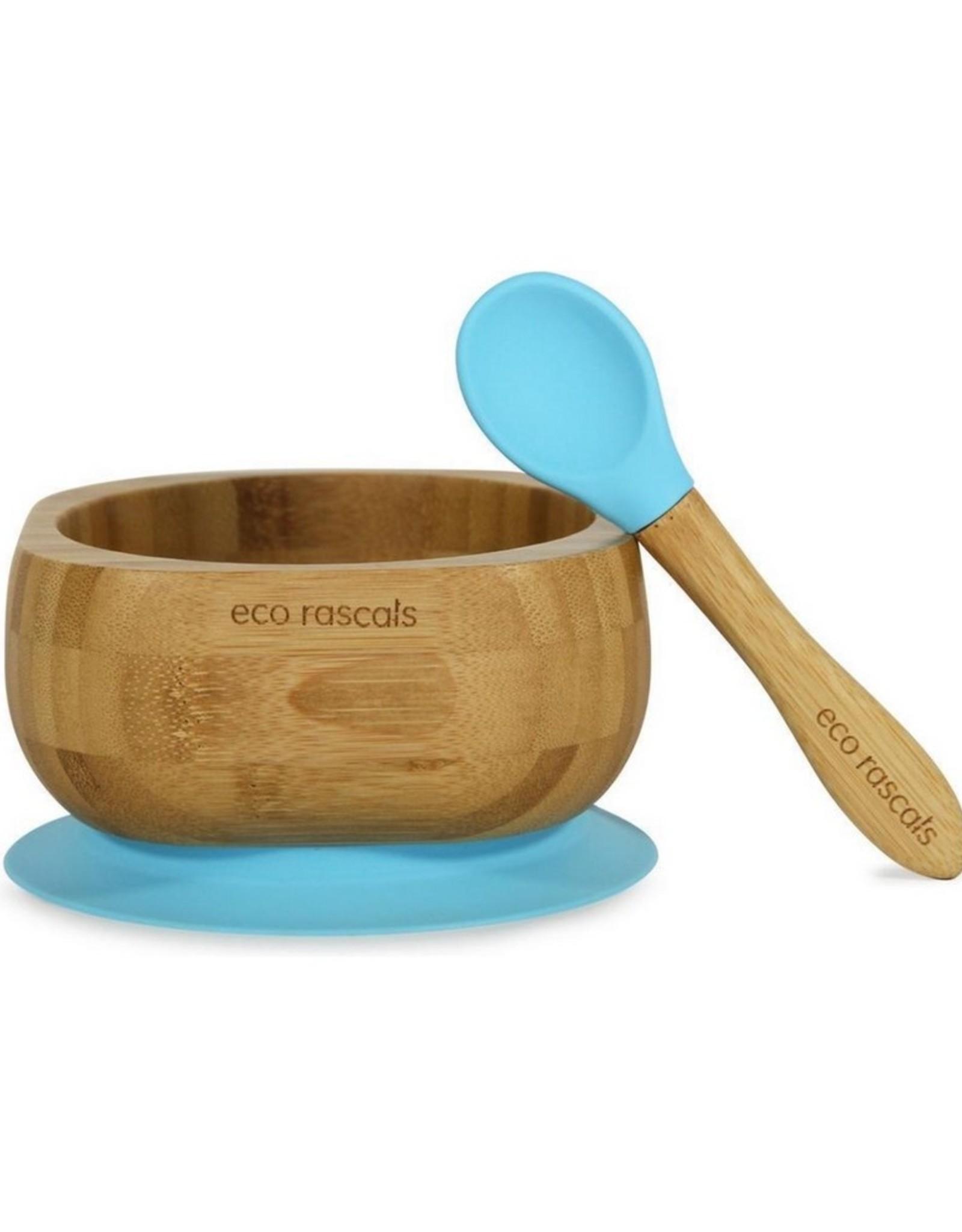 Eco Rascals Kommetje  + lepel met zuignap Blauw