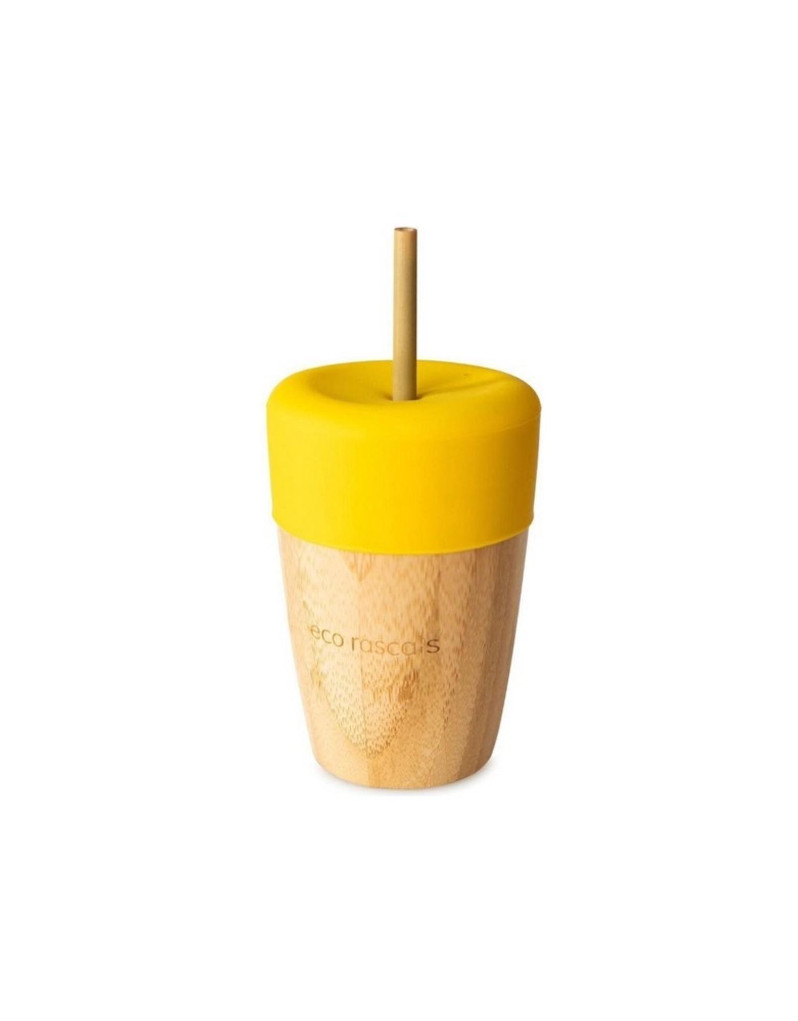 Eco Rascals Beker met 2 bamboo rietjes Geel