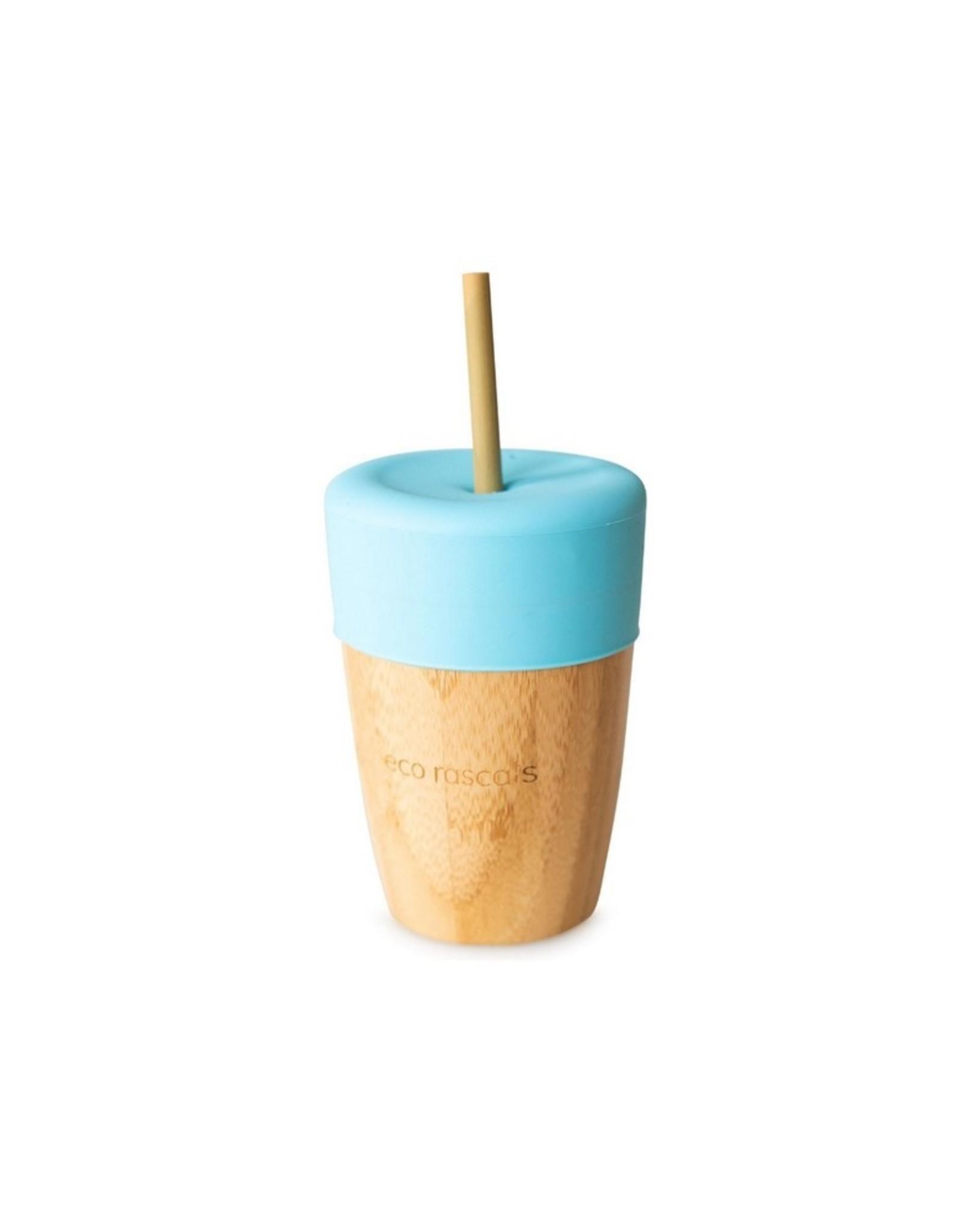 Eco Rascals Beker met 2 bamboo rietjes Blauw