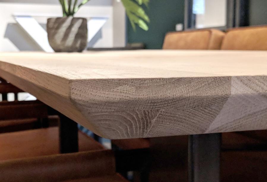 Tischplatte Wildeiche - eckig - 4,5 cm dick - - verschiedene Größen -2-lagig rundum verdickt - mit abgeschrägten Kanten - Asteiche (rustikal) - Eiche Tischplatte - Verleimt & künstlich getrocknet (HF 8-12%)