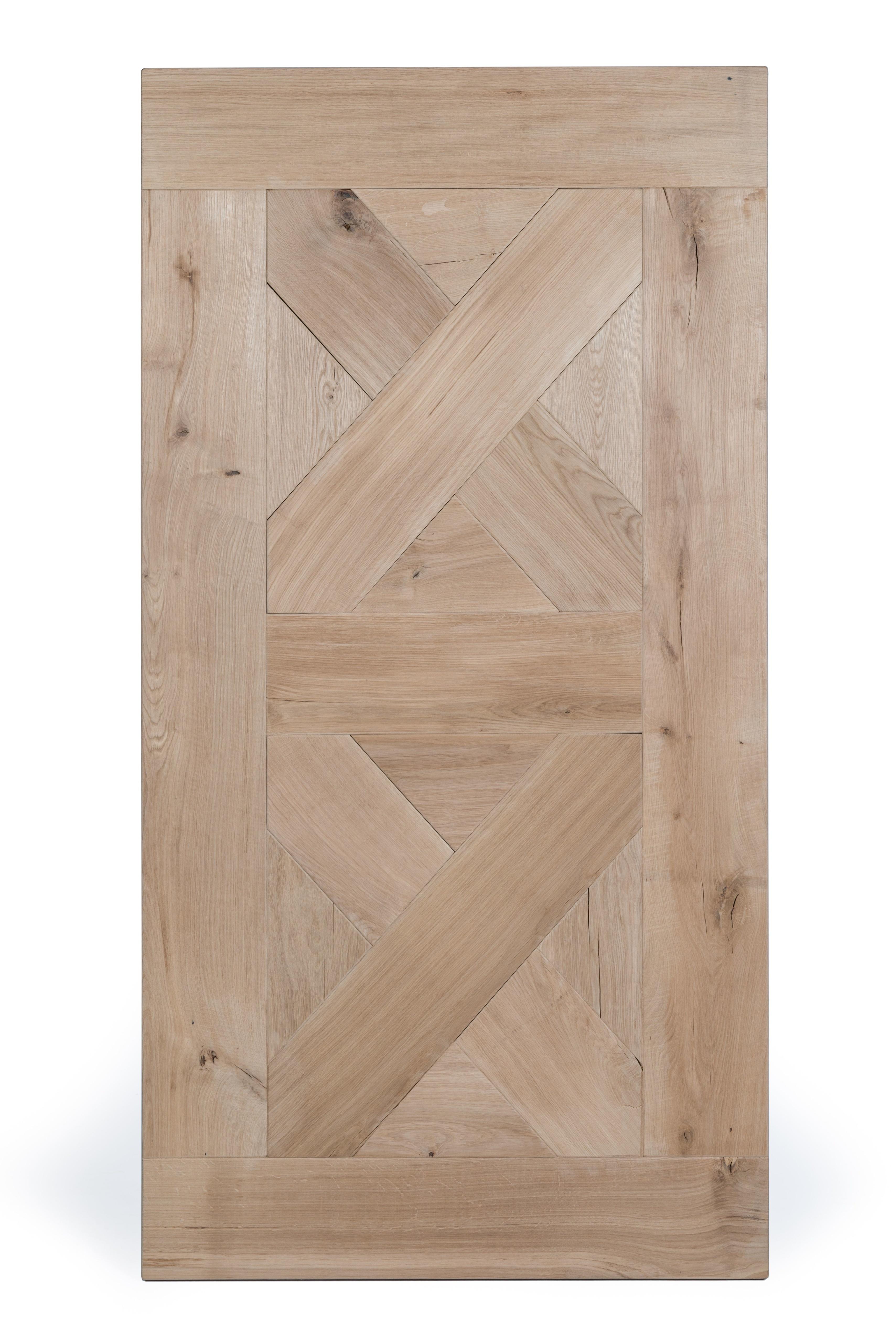 Tischplatte Wildeiche speziell - 100x200-300 cm - 4,5 cm dick - Asteiche (rustikal) - Gebürstet mit V-fugen - Eiche Tischplatte - Verleimt & künstlich getrocknet (HF 8-12%)