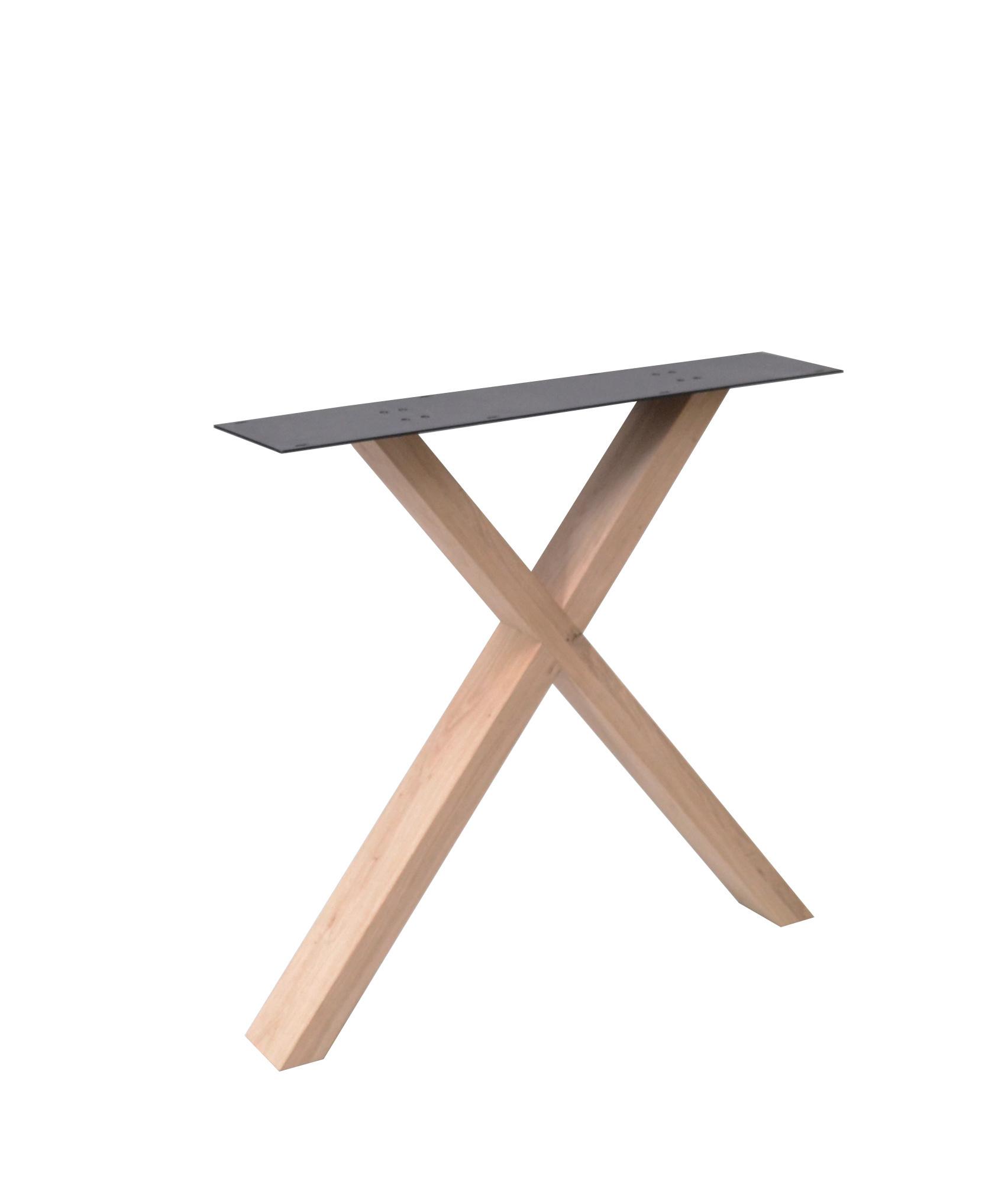 X Tischbeine Eiche Elegant (SET - 2 Stück) 4x10 cm -78 cm breit - 72 cm hoch - Eichenholz leicht Rustikal - X Tischkufen - Massiv verleimt - künstlich getrocknet HF 12%