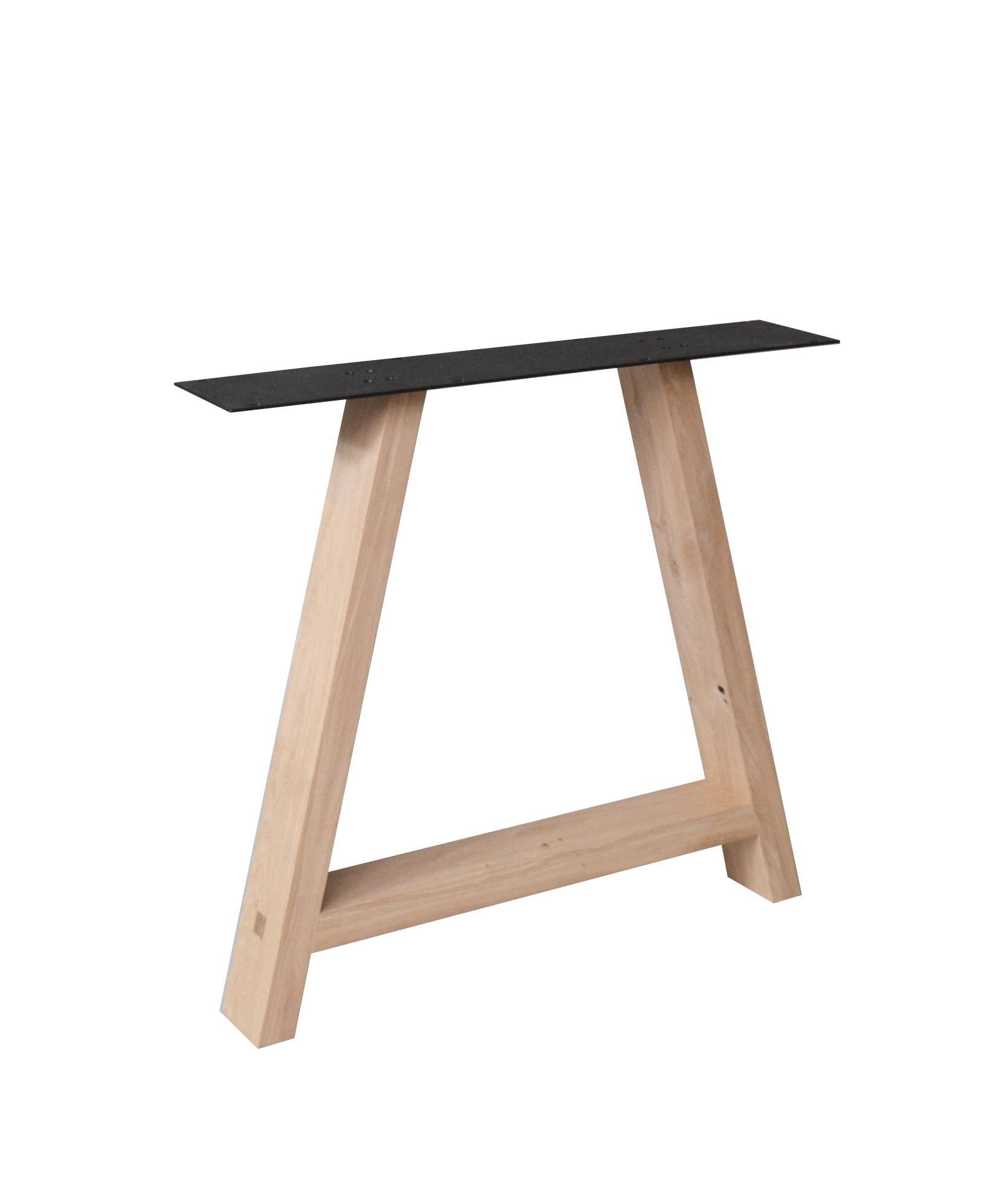 A Tischbeine Eiche Elegant (SET - 2 Stück) 4x10 cm -78 cm breit - 72 cm hoch - Eichenholz leicht Rustikal - A-Form Tischkufen - Massiv verleimt - künstlich getrocknet HF 12%