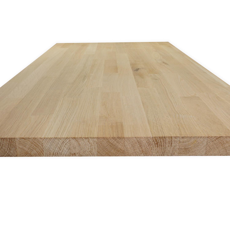 Arbeitsplatte Eiche massiv keilgezinkt - 2,5 cm dick - Eichenholz rustikal - Massivholz - Verleimt & künstlich getrocknet (HF 8-12%)