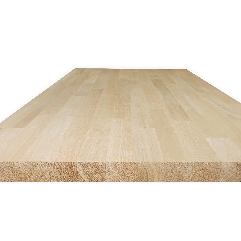 Arbeitsplatte Eiche massiv keilgezinkt - 2,5 cm dick - Eichenholz A-Qualität - Massivholz - Verleimt & künstlich getrocknet (HF 8-12%)