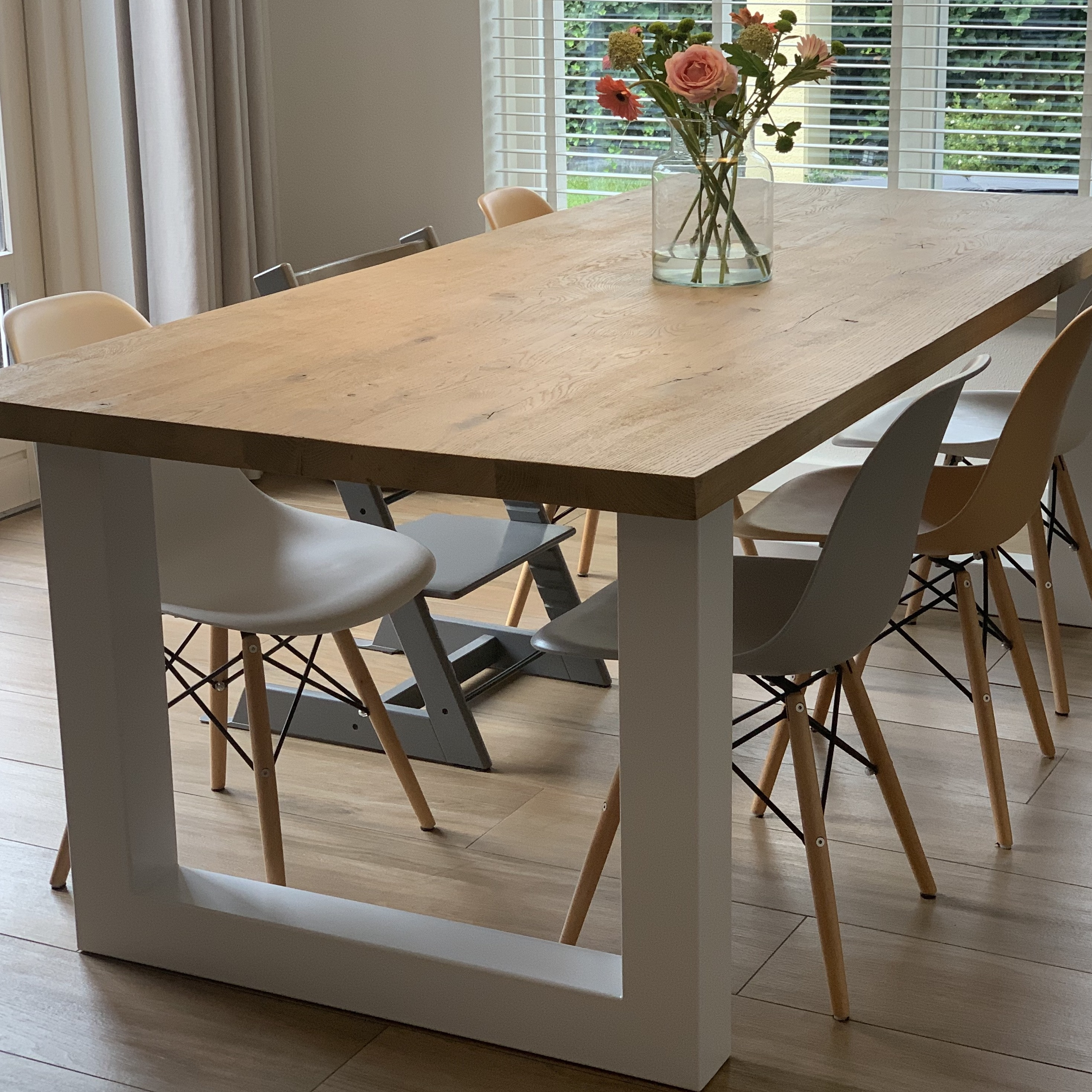 Tischplatte Wildeiche - eckig - 4,5 cm dick - verschiedene Größen - Asteiche (rustikal) - Gebürstet - Eiche Tischplatte - Verleimt & künstlich getrocknet (HF 8-12%)