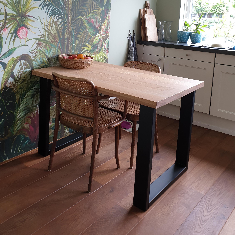 Tischbeine U Metall elegant SET (2 Stück) - 10x4 cm - 70-78 cm breit - 72 cm hoch - U-form Tischkufen / Tischgestell beschichtet - Schwarz, Anthrazit & Weiß