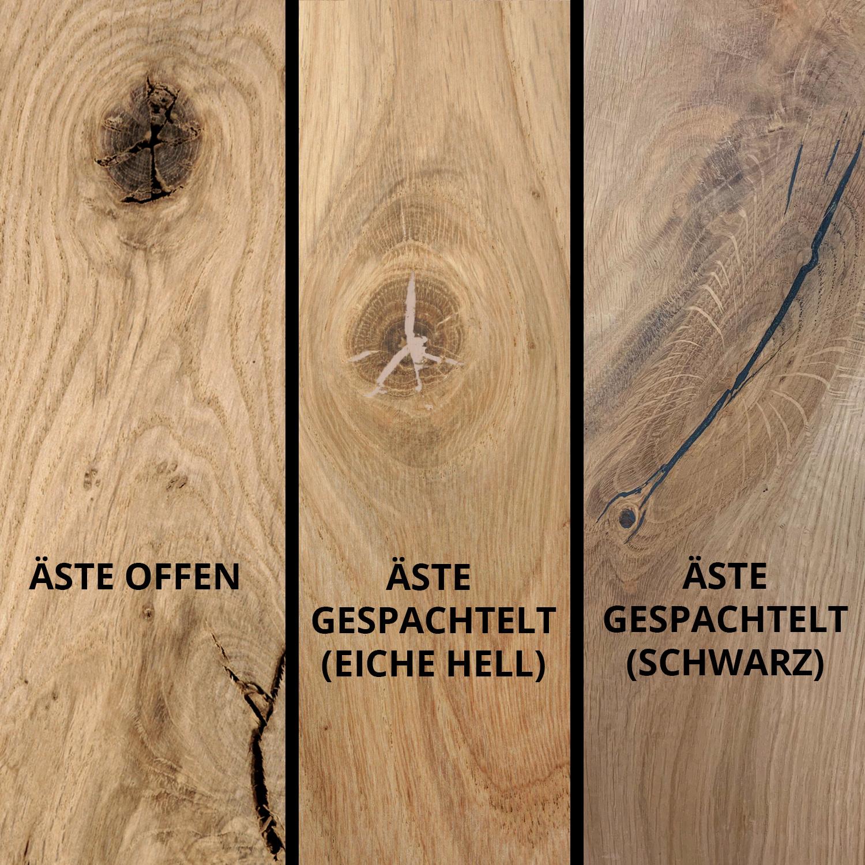 Tischplatte Eiche rund nach Maß - 3 cm dick - Eichenholz rustikal - Durchmesser: 35 - 130 cm - Eiche Tischplatte rund massiv - verleimt & künstlich getrocknet (HF 8-12%)