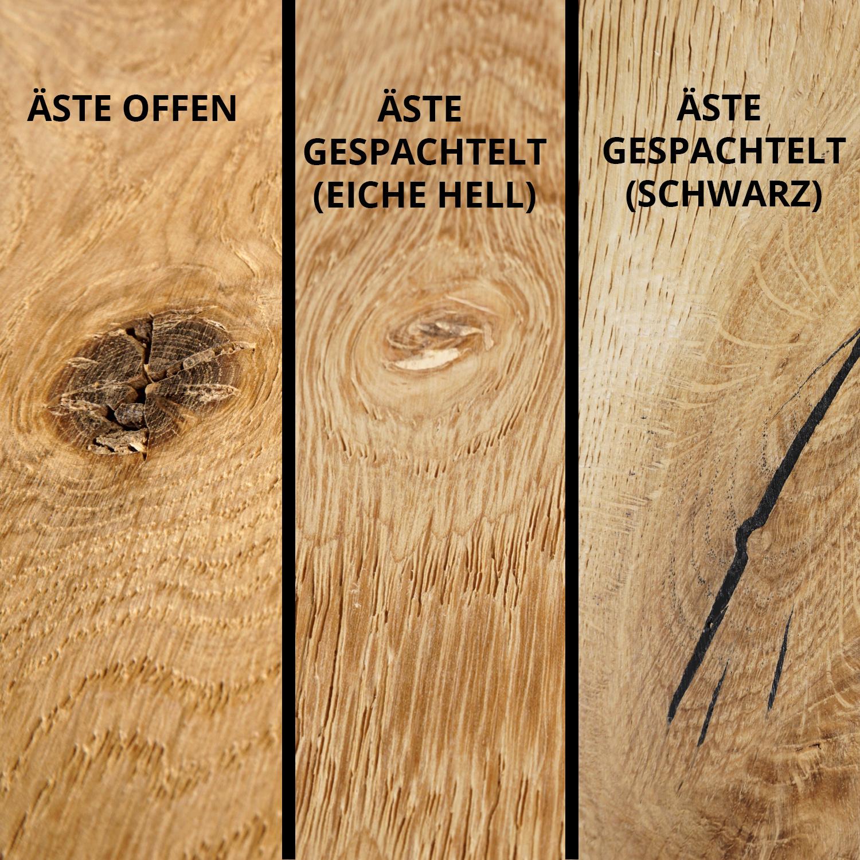 Tischplatte Eiche rund nach Maß - 4 cm dick (2-lagig) - Eichenholz rustikal - Durchmesser: 35 - 130 cm - Eiche Tischplatte rund massiv - verleimt & künstlich getrocknet (HF 8-12%) - Gebürstet