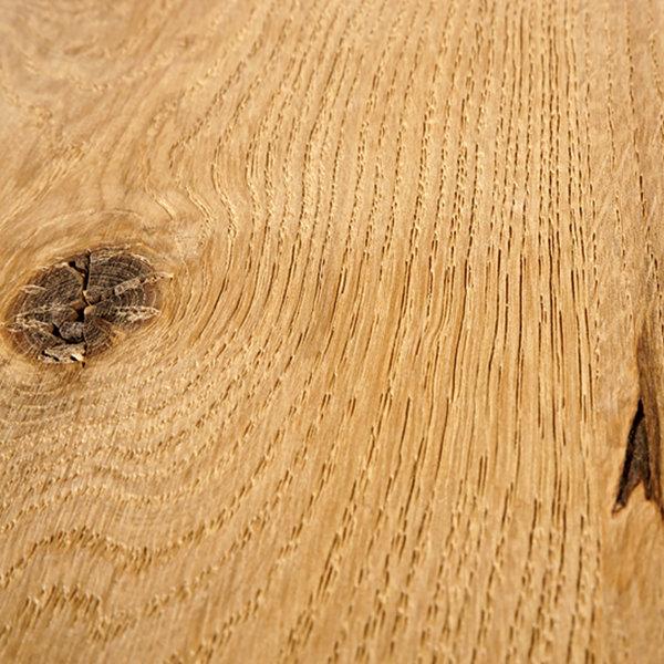 Tischplatte Eiche rund nach Maß - 6 cm dick (3-lagig) - Eichenholz rustikal - Gebürstet