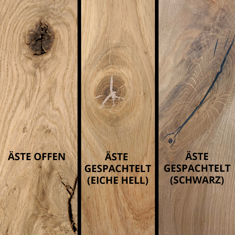 Tischplatte Eiche oval - 6 cm dick (3-lagig) - Eichenholz rustikal ellipse - Eiche Tischplatte aufgedoppelt - verleimt & künstlich getrocknet (HF 8-12%)