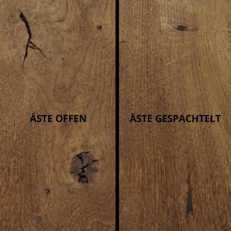 Tischplatte Eiche oval - 6 cm dick (3-lagig) - Eichenholz rustikal ellipse - Gebürstet & geräuchert  - Eiche Tischplatte aufgedoppelt - verleimt & künstlich getrocknet (HF 8-12%)