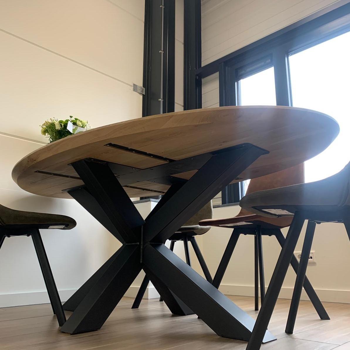 Tischplatte Wildeiche oval - 4 cm dick - mit Schweizer Kante - Asteiche (rustikal) - mit abgeschrägten Kanten - Eiche Tischplatte ellipse massiv - Verleimt & künstlich getrocknet (HF 8-12%)