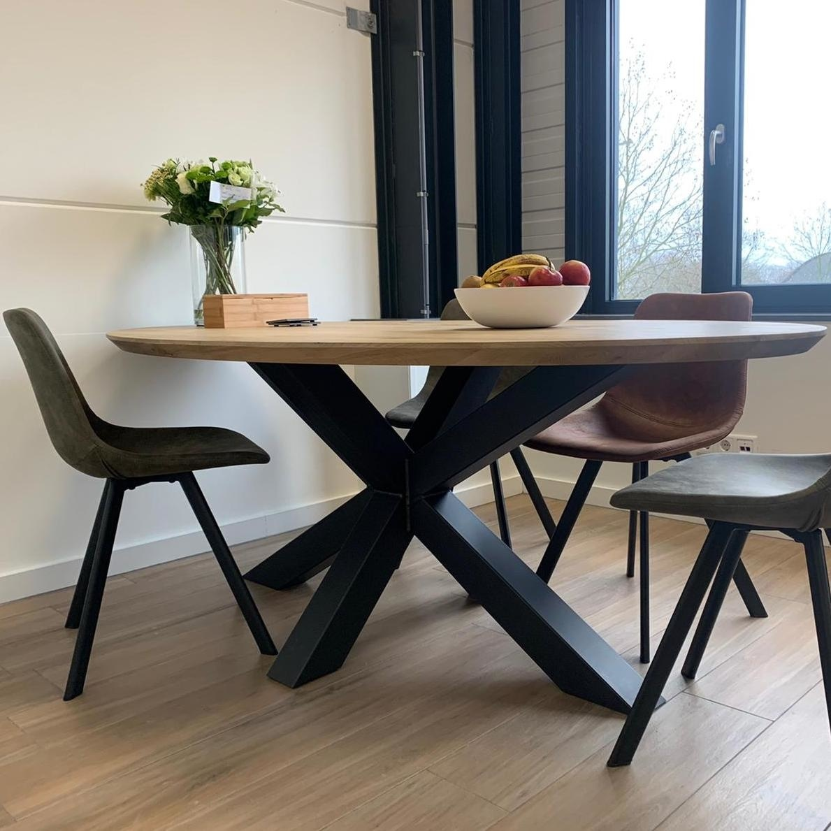 Tischplatte Wildeiche oval - 4 cm dick - Asteiche (rustikal) - mit abgeschrägten Kanten - Eiche Tischplatte ellipse massiv - Verleimt & künstlich getrocknet (HF 8-12%)
