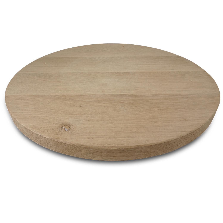 Tischplatte Eiche rund nach Maß - 2 cm dick - Eichenholz rustikal - Durchmesser: 35 - 130 cm - Eiche Tischplatte rund massiv - verleimt & künstlich getrocknet (HF 8-12%)