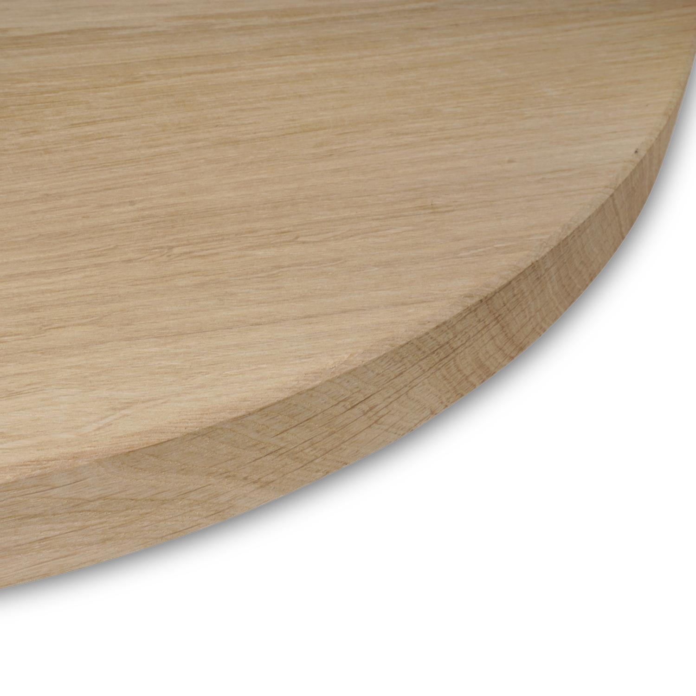 Tischplatte Eiche rund nach Maß - 3 cm dick - Eichenholz A-Qualität - Durchmesser: 35 - 130 cm - Eiche Tischplatte rund massiv - verleimt & künstlich getrocknet (HF 8-12%)