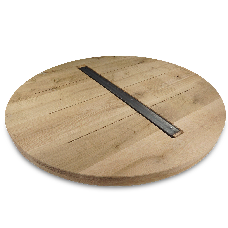 Tischplatte Eiche rund nach Maß - 4 cm dick (2-lagig) - Eichenholz A-Qualität  - Gebürstet - Durchmesser: 35 - 130 cm - Eiche Tischplatte rund massiv - verleimt & künstlich getrocknet (HF 8-12%)