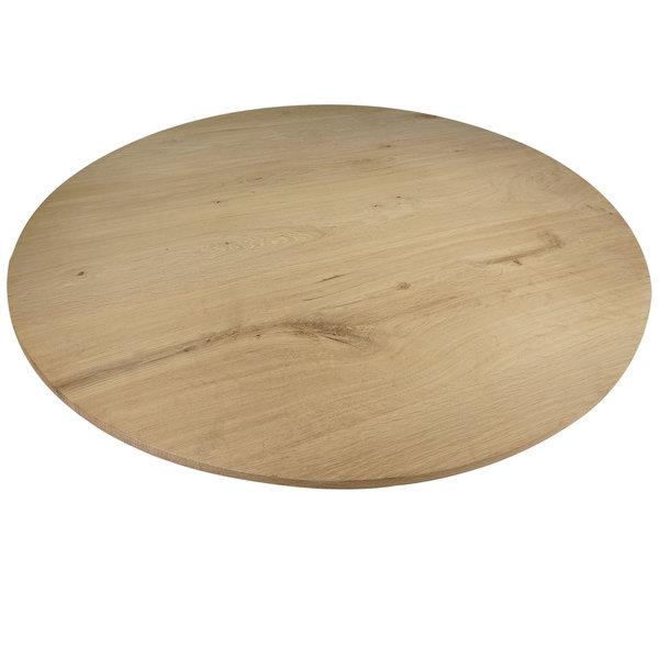 Tischplatte Wildeiche rund - 4 cm dick - mit Schweizer Kante