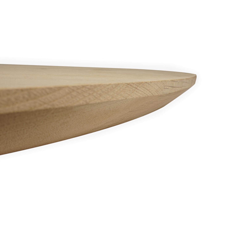 Tischplatte Wildeiche rund - 4 cm dick - Asteiche (rustikal) - mit abgeschrägten Kanten - Eiche Tischplatte rund massiv - Verleimt & künstlich getrocknet (HF 8-12%)