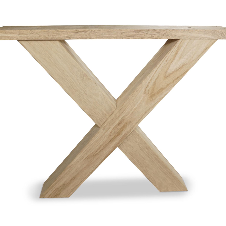X Tischbeine Eiche (SET - 2 Stück) 10x10 cm - 85 cm breit - 72 cm hoch - Eichenholz Rustikal - Massive X Tischkufen - künstlich getrocknet HF 8-12%