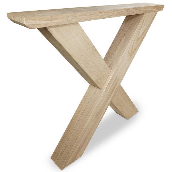 X Tischbeine Eiche (SET - 2 Stück) 10x10 cm - 85 cm breit - 72 cm hoch -  Eichenholz Rustikal