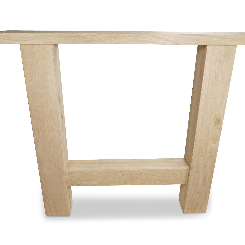 H Tischbeine Eiche (SET - 2 Stück) 10x10 cm - 85 cm breit - 72 cm hoch - Eichenholz Rustikal - Massive H Tischkufen - künstlich getrocknet HF 8-12%