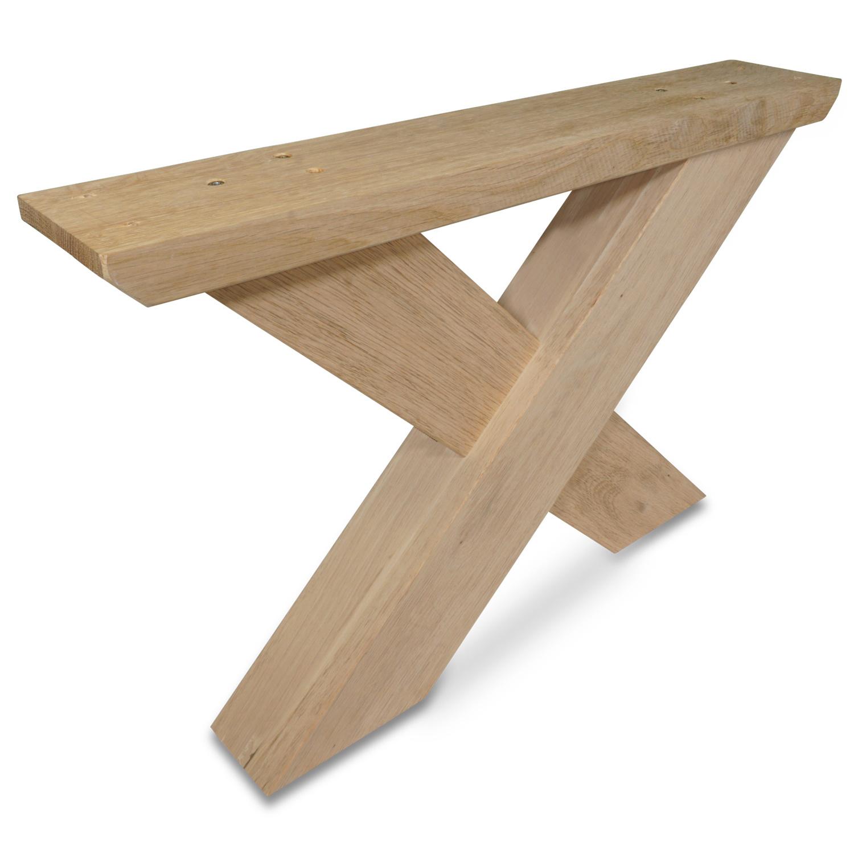 X Couchtisch Beine Eiche (SET - 2 Stück) 8x10 cm - 65 cm breit - Eichenholz Rustikal - Massive X Couchtisch Füße / Tischbeine Couchtisch - künstlich getrocknet HF 8-12%