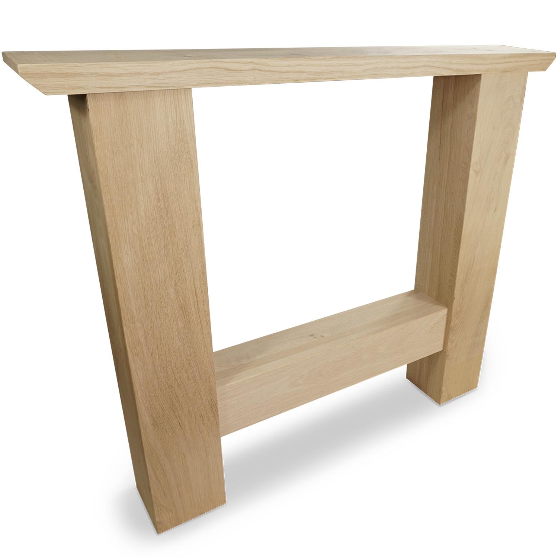 H Tischbeine Eiche (SET - 2 Stück) 12x12 cm - 85 cm breit - 72 cm hoch - A-Qualität Eichenholz - Massive H Tischkufen - künstlich getrocknet HF 8-12%