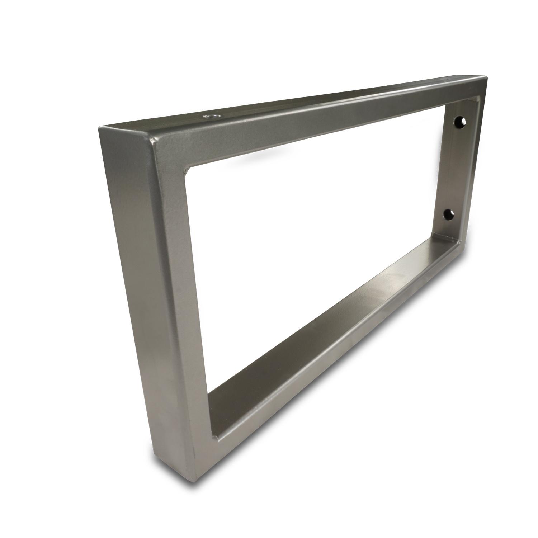 Waschtischhalterung Rechteck Edelstahl optik - SET (2 Stück) - 45x20 cm - Waschtischplatte / Handtuchhalter  Metall - 40x20x2 mm Profil - Wandhalterung Stahl – Beschichtet
